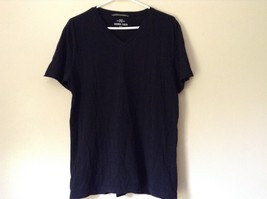 H and M Black V Neck Short Sleeve 100 Percent Cotton Soft T Shirt No Size Tag