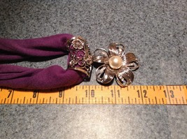 Flower with 5 Petals with 3 Small Clear Crystals in Petals Scarf Pendant image 3