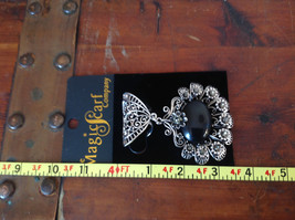 Flowers Crystals Large Black Stone Silver Tone Scarf Pendant by Magic Scarf image 5