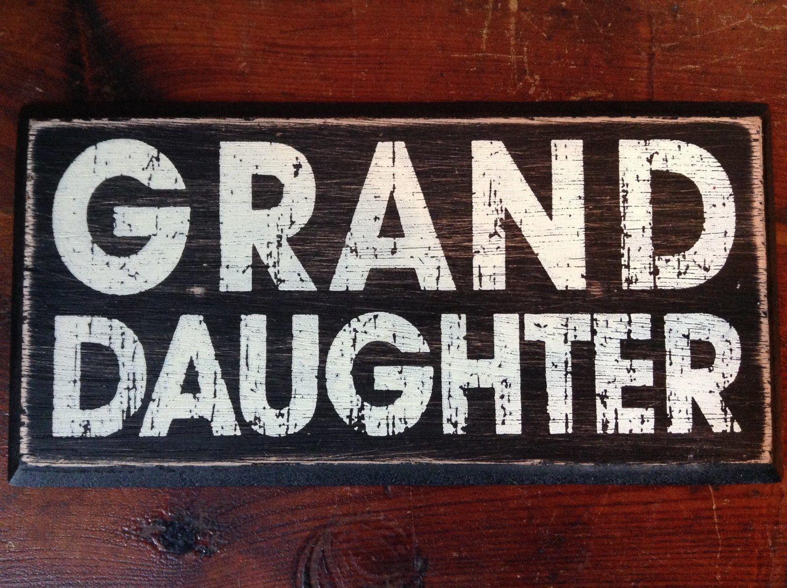 GRAND DAUGHTER  in White Letters on Black Wooden Tile Sign Magnet