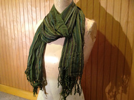 Forest Green Tasseled Fashion Scarf Light Weight Material NO TAGS image 2