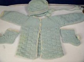 Hand knitted baby boy sweater booties and hat set retro - $24.74