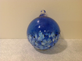 Handblown Recycled Glass Christmas Tree Ball Ornament Deep Blue White