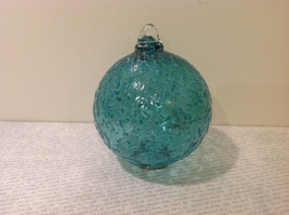 Handblown Recycled Glass Christmas Tree Ball Ornament Light Blue Green image 1