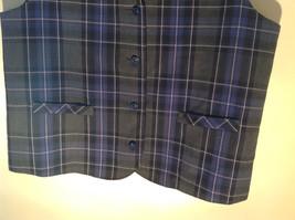 Formal 2 Fake Pockets by Tan Jay Blue Purple Black Square Pattern Vest Size 14 image 4