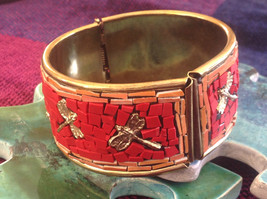 Handcrafted Red Brass Firefly Dragonfly Unique Boho Hippie Statement Bracelet image 1