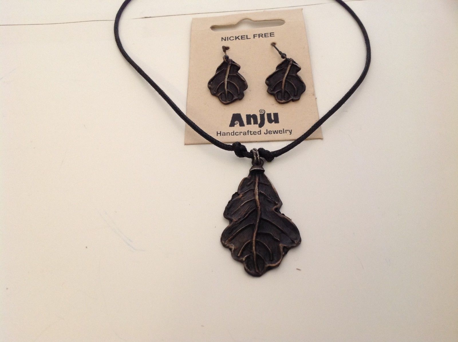 Handcrafted Pewter oxidized hammered rustic oak leaf necklace earring set