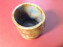 Handmade Brown Ceramic Cup Mug with Finger Holds at Side Hand Shaped