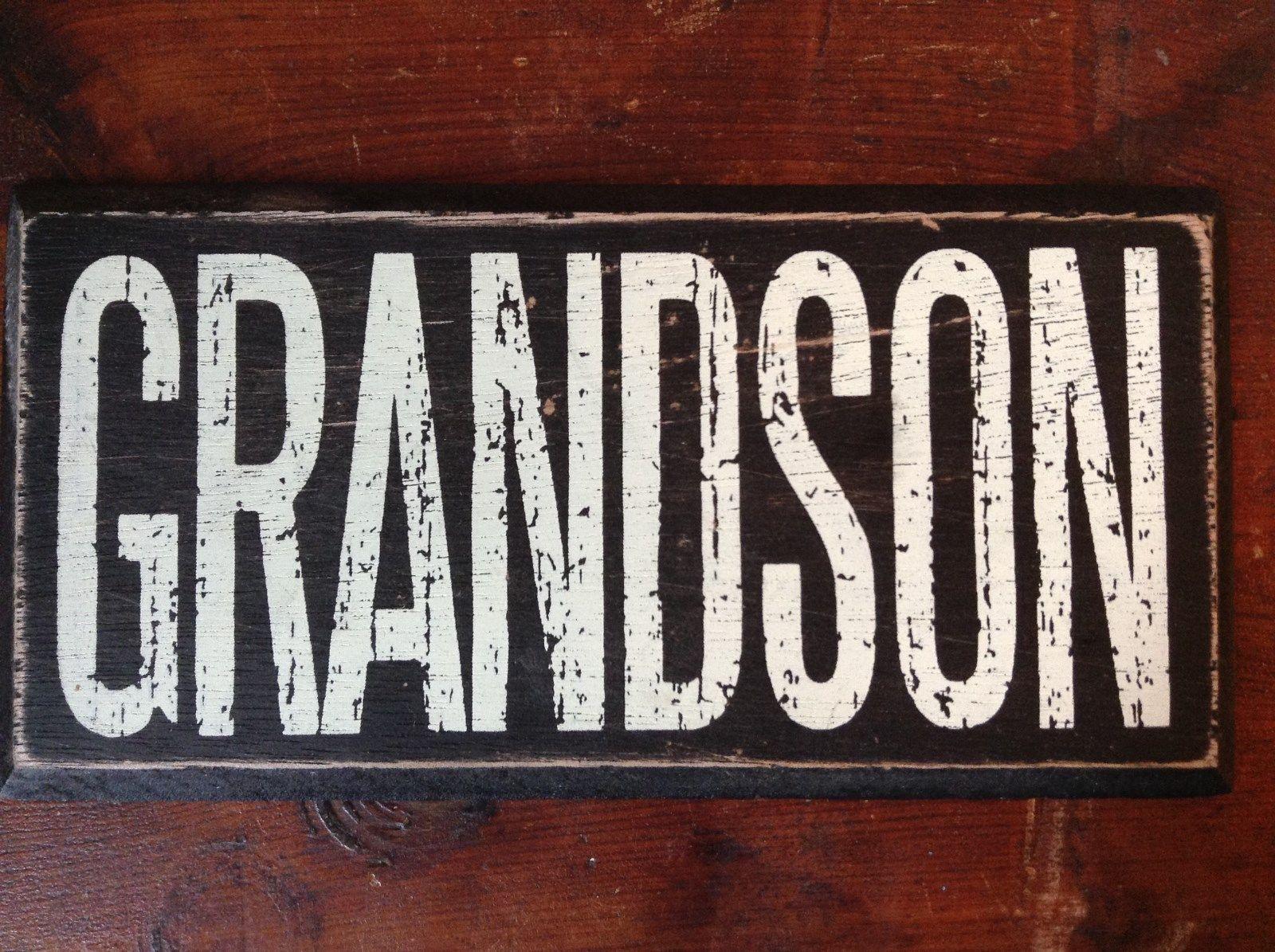 GRANDSON  in White Letters on Black Wooden Tile Sign Magnet