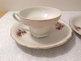 Four Piece Vintage Gilded Teacup and Saucer Set Floral Pattern Bone China image 7