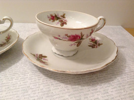 Four Piece Vintage Gilded Teacup and Saucer Set Floral Pattern Bone China image 2