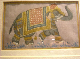 Framed Asian Indian Elephant Painting on Silk image 6