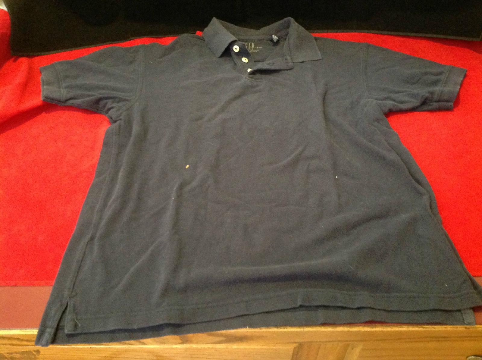 Gap Mens Short Sleeve Blue Polo Shirt 3 Button Collar Size Small