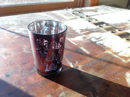 Four Piece Vintage Style Mercury Glass Candle Holders Orange Green Blue Black image 4