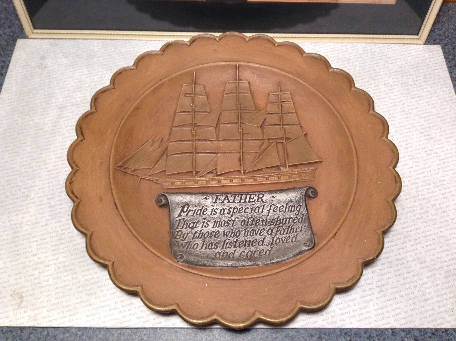 Gare Incorporated 1977 Vintage Decorative Gift  Plate Ship Father  Quote