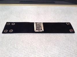 Genuine Black Leather Handcrafted Bracelet Pewter Base Metal Medallion Tree image 1