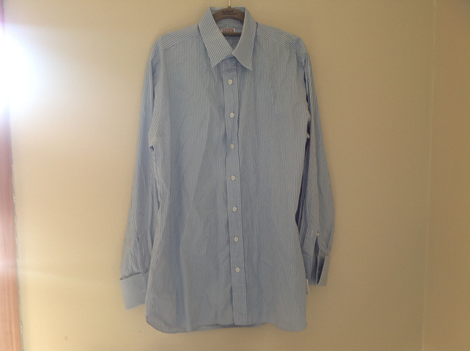 Geneva Custom Light Blue Striped Casual Collared Long Sleeve Button Up Shirt