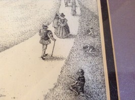 Framed Pen Art by Wendy Lewis Made in 1981 Nobles Walking Toward a Castle image 5