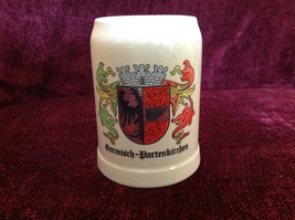 German Beer Stein Garmisch Partenkirchen on Front in Black Letters