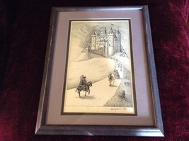 Framed Pen Art by Wendy Lewis Made in 1981 Nobles Walking Toward a Castle image 2