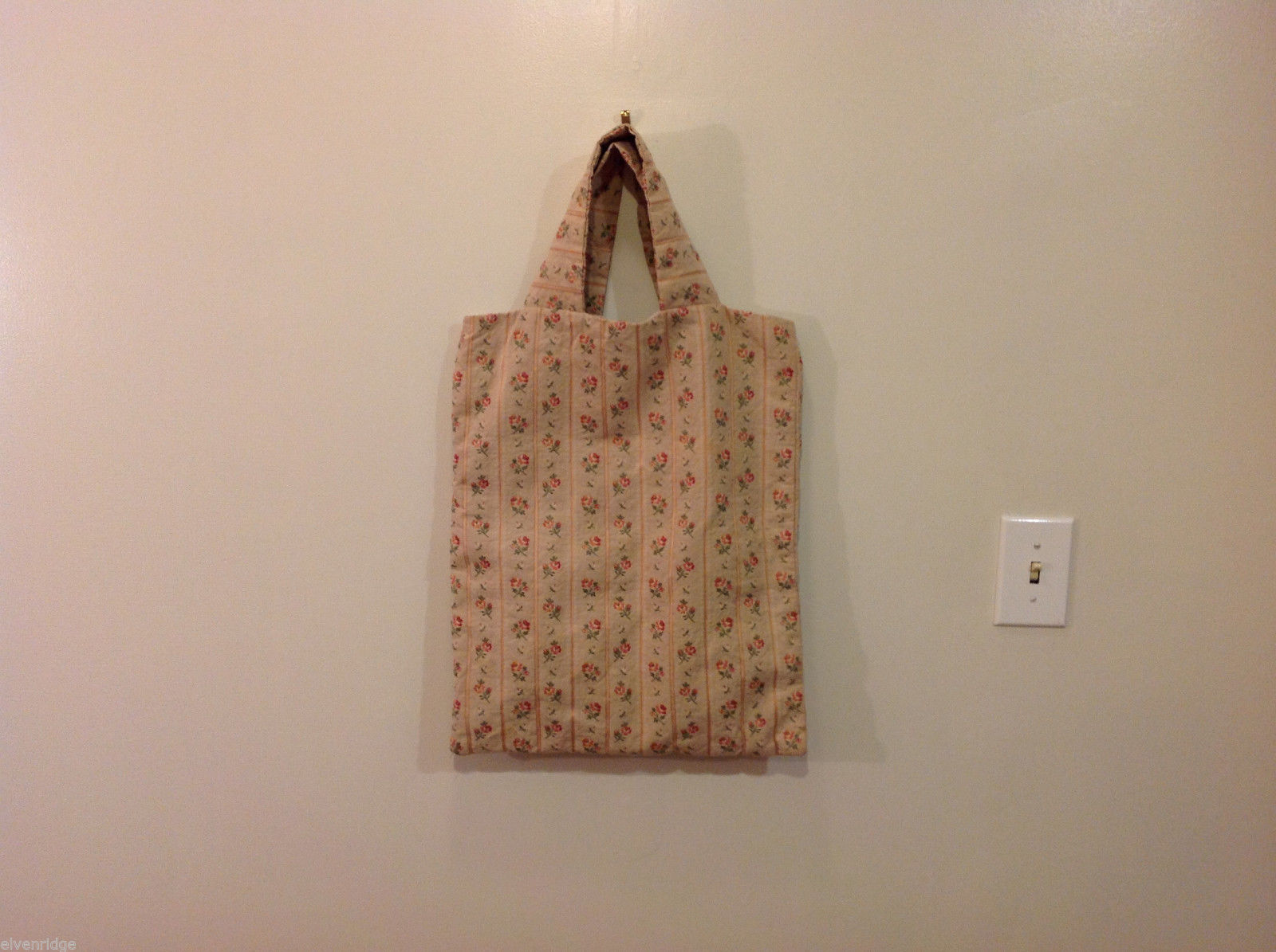 Handmade Cotton-Linen Deep Tote Bag Handbag Beige with Flower pattern, lined