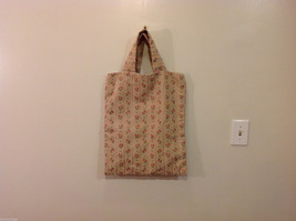 Handmade Cotton-Linen Deep Tote Bag Handbag Beige with Flower pattern, lined image 1