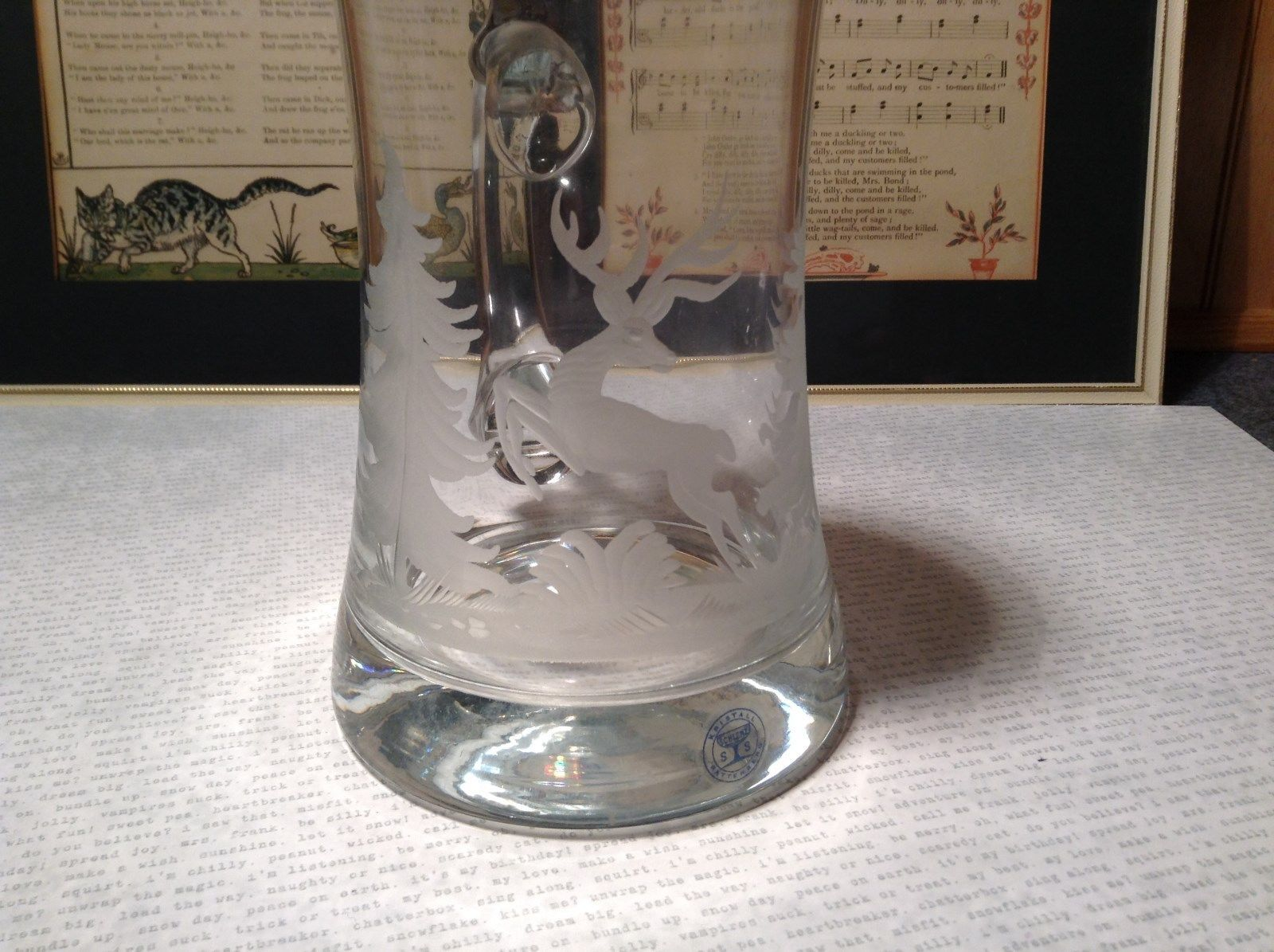 German Glass Etched Stein w Attached Pewter Lid Etched Buck Evergreens