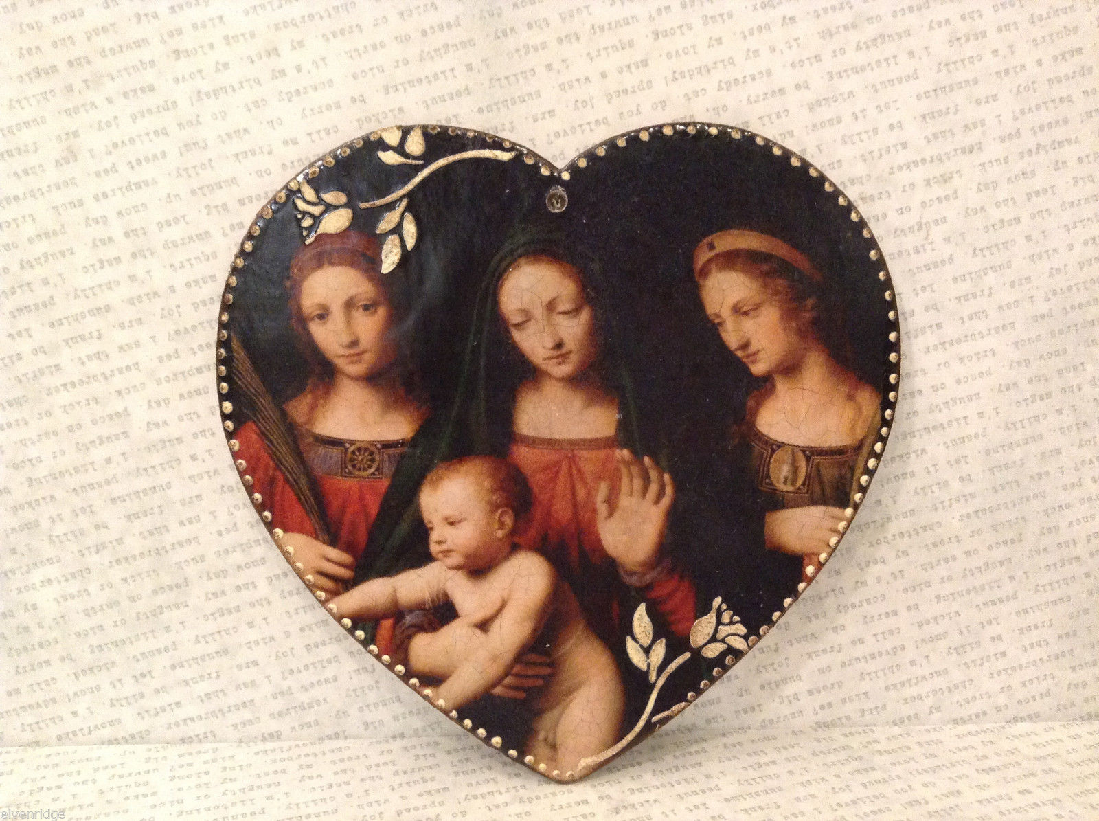 Handmade Decorative Wall Flat Plaque Ornament St. Catherine Madonna St. Barbara