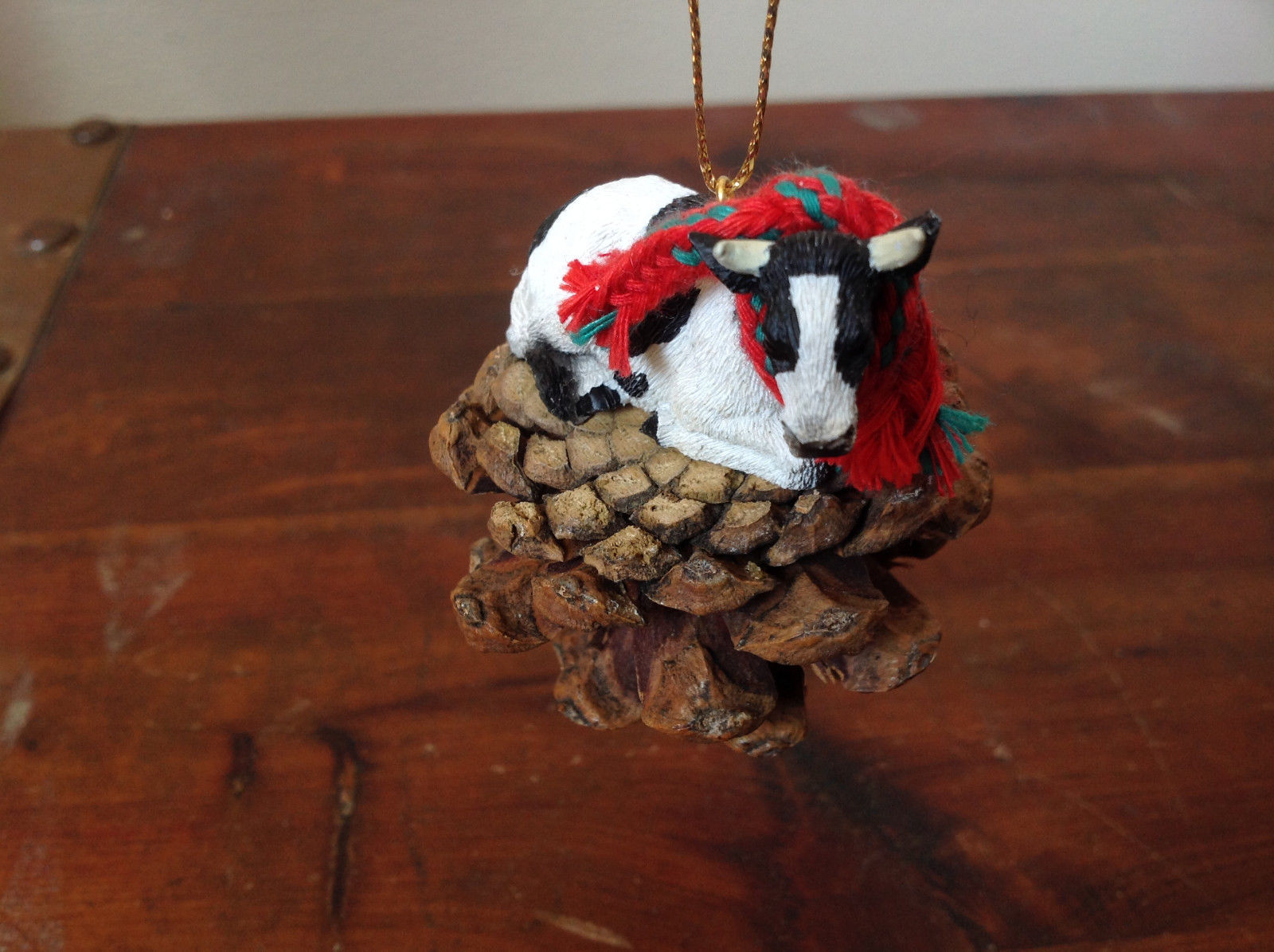 Handmade Pine Cone Pet Cow with Scarf Ornament Real Pine Cone