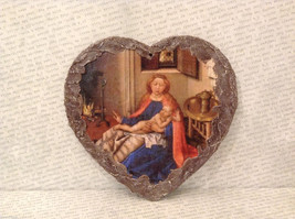 Handmade Decoupage Decorative Wall Flat Plaque Ornament Madonna with Child