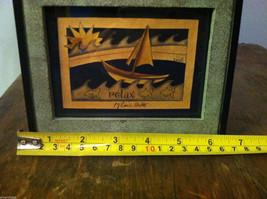 Framed Relax Sun  Waves Sailboat Paper Cutting Wall Decor Scherenschnitte image 5