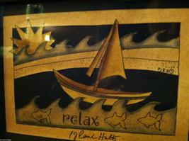 Framed Relax Sun  Waves Sailboat Paper Cutting Wall Decor Scherenschnitte image 3