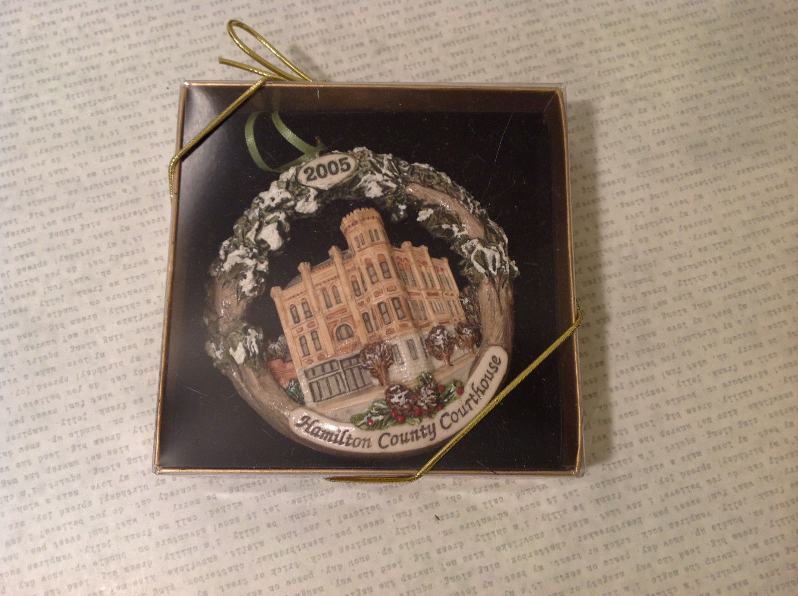 Handpainted Christmas Ornament Hamilton Country Courthouse 2005 Original Package