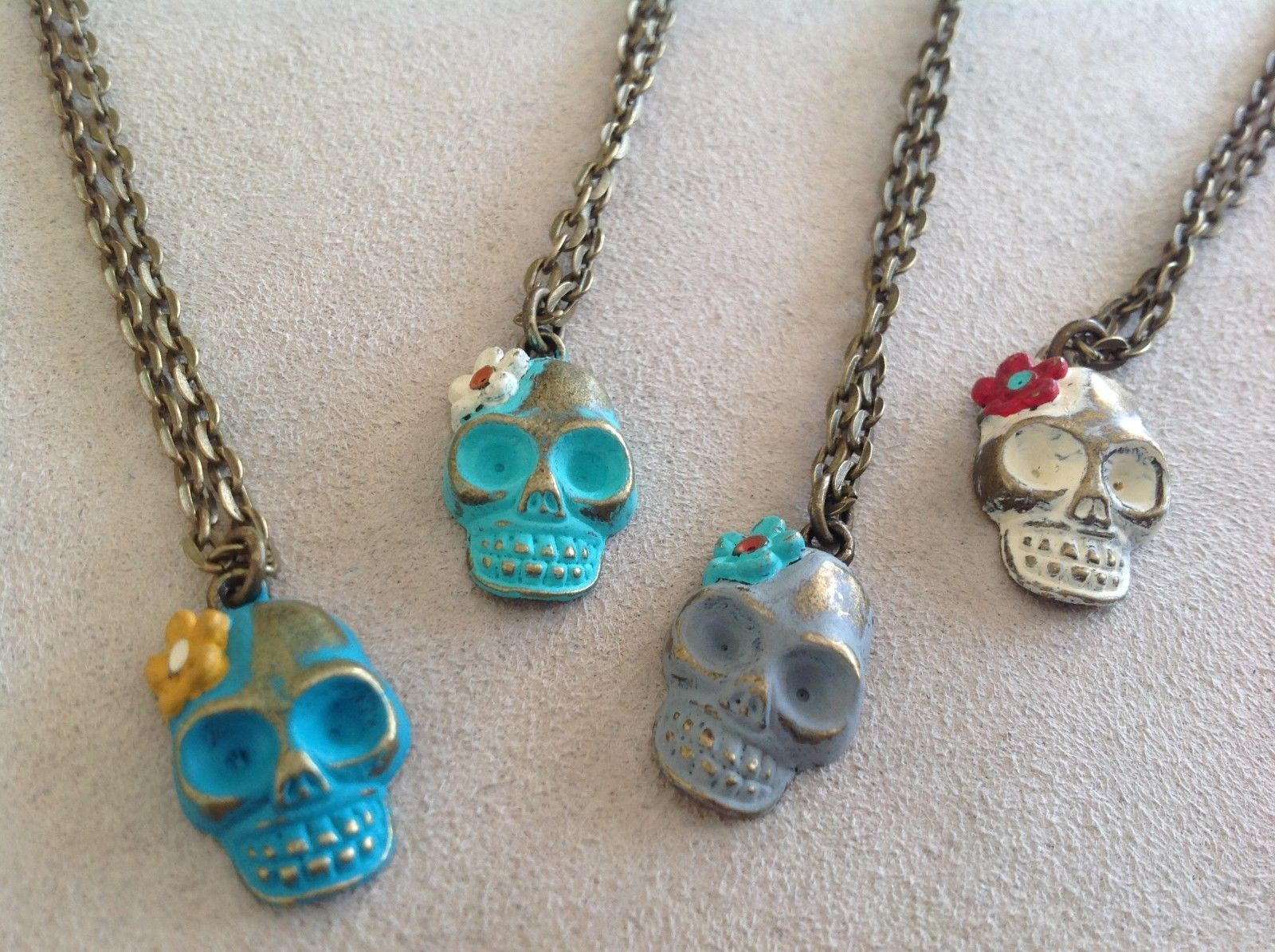 Handpainted Day of Dead Sugar Skull small pendant necklace Gleeful Peacock