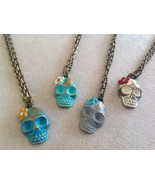Handpainted Day of Dead Sugar Skull small pendant necklace Gleeful Peacock - $34.64