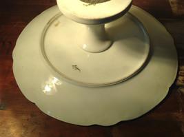 French Ceramic Service Platter Tray Gilded White Raised Flowers Leaves image 7