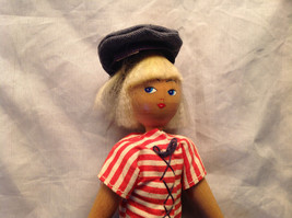 French Wooden Doll with Hat Red Striped Shirt Black Hair Red Shoes Jean Pants image 2