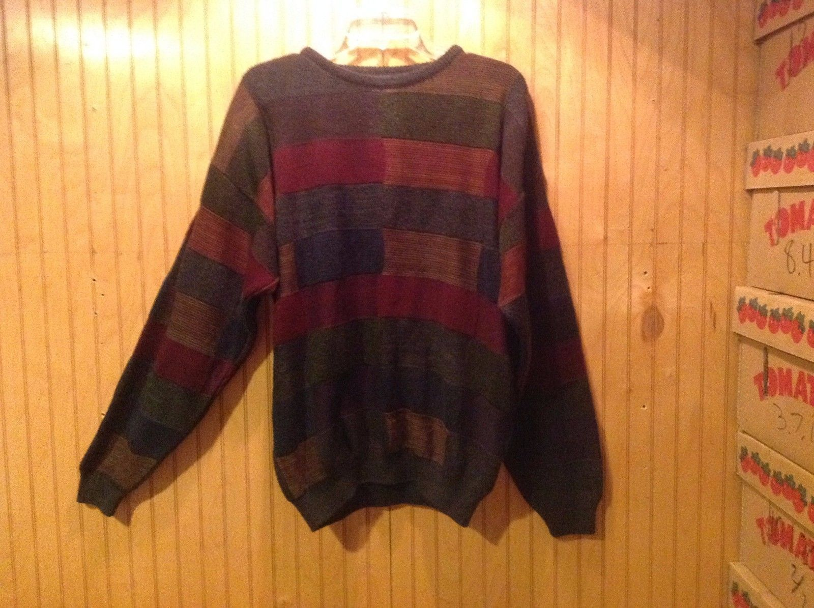 Gianfranco Ruffini Italy Dark Sweater Size Medium Checkered Pattern Multicolor