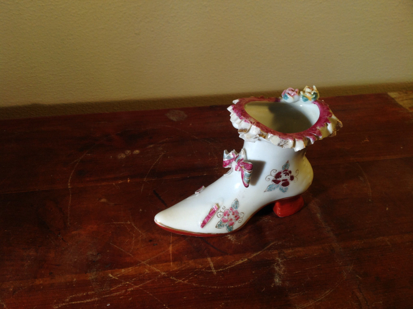 Gilded Ceramic Boot with Bow Tie and Flowers Red Brown Green