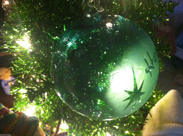 Frosted Hand blown large heirloom glass Christmas ornament in Green Pepper Teal image 4