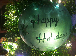 Frosted Hand blown large heirloom glass Christmas ornament in Green Pepper Teal image 3
