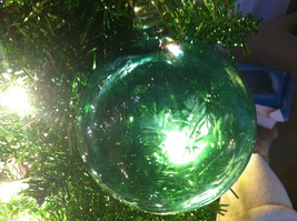 Frosted Hand blown large heirloom glass Christmas ornament in Green Pepper Teal image 5