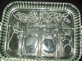 Fruit Motif pear apple plum grapes strawberries 2 serving bowls vintage glass image 4