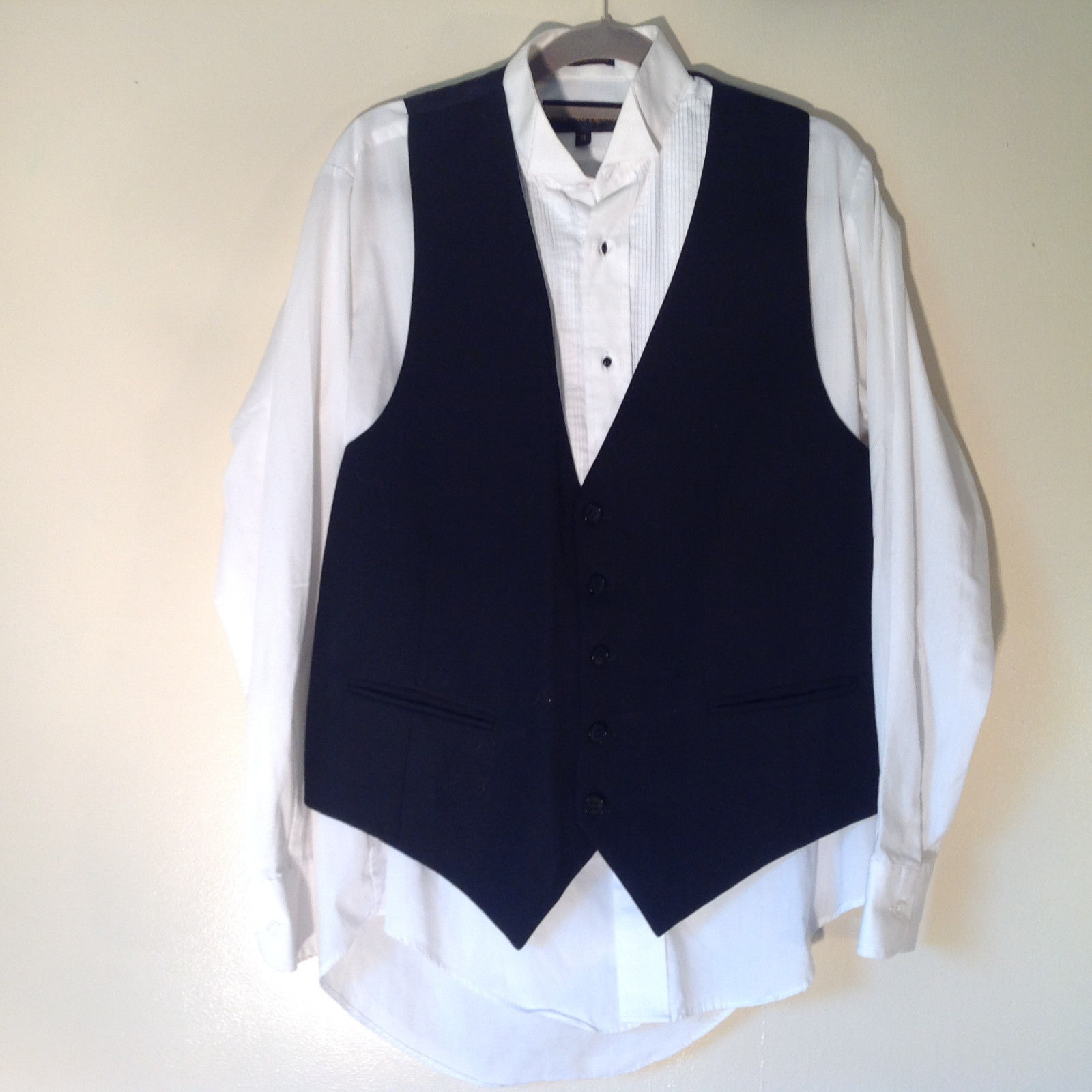 Giorgio Bissoni White Tux Shirt With Black Vest Size Small