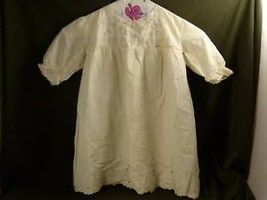 Girls Antique victorian white linen short dress