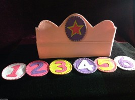 Girl's Birthday Hat flannels reusable pink felt crown with numbers 1 through 6 image 1