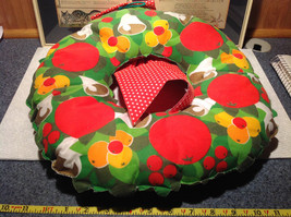 Fruity Holiday Quilted Wreath with Doll and Ribbon Apples Bells Flowers image 4