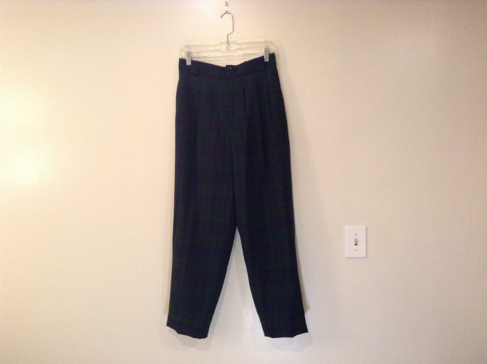 Giorgio Sant Angelo Pure Wool Size 10 Navy Blue Dark Green Plaid Lined Pants