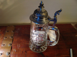 Glass Beer Stein with Metal Lid Made In Germany 9 Inches Tall