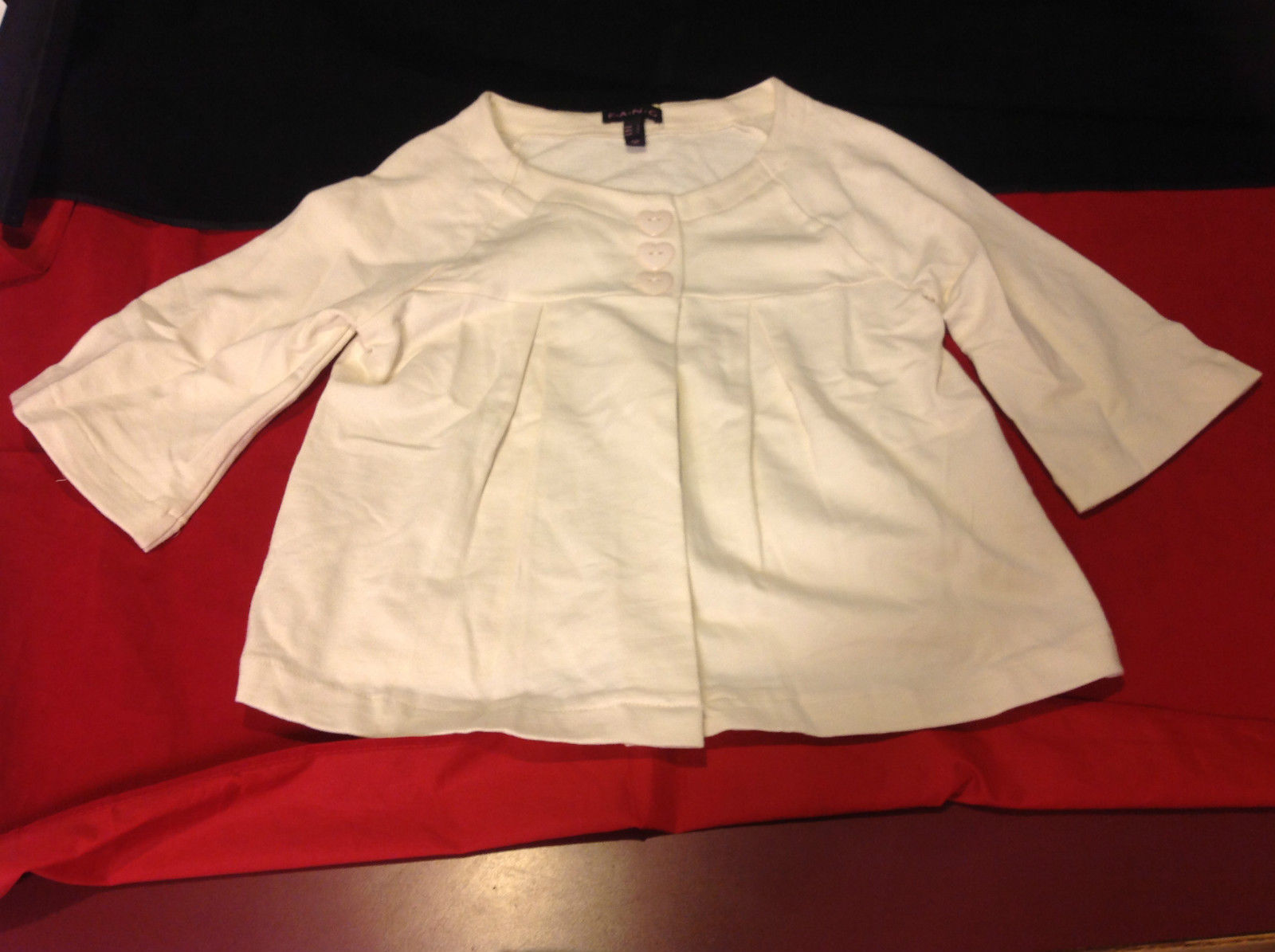 Girls Cream Color Blazer 3 Heart Button Closure by Fang 3/4 L Sleeves Size Large